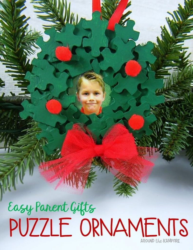 Easy parent Christmas gift ideas puzzle piece ornaments