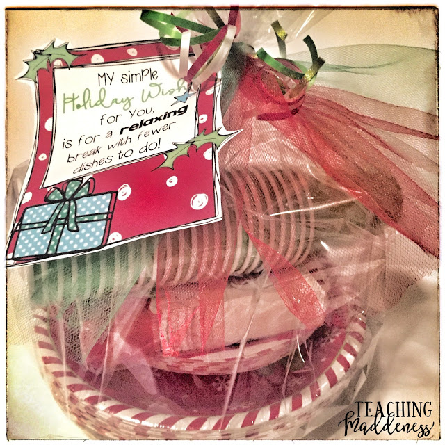 Easy parent Christmas gift ideas-Holiday parent gift tag-Fewer dishes to do! to place on holiday paper products from Teaching Maddeness