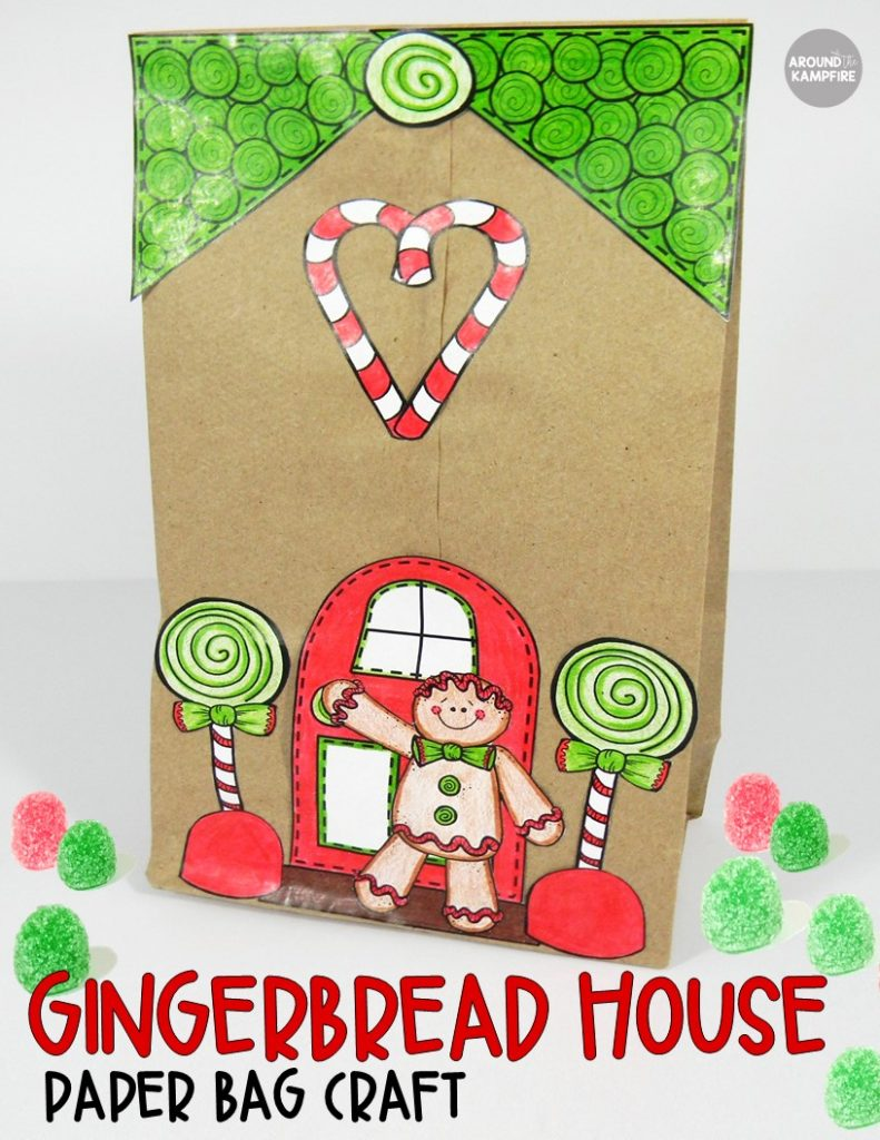 Easy parent Christmas gift ideas wrapped in this adorable gingerbread house paper bag craft. Ideal for a Kindergarten, first, or second grade classroom.