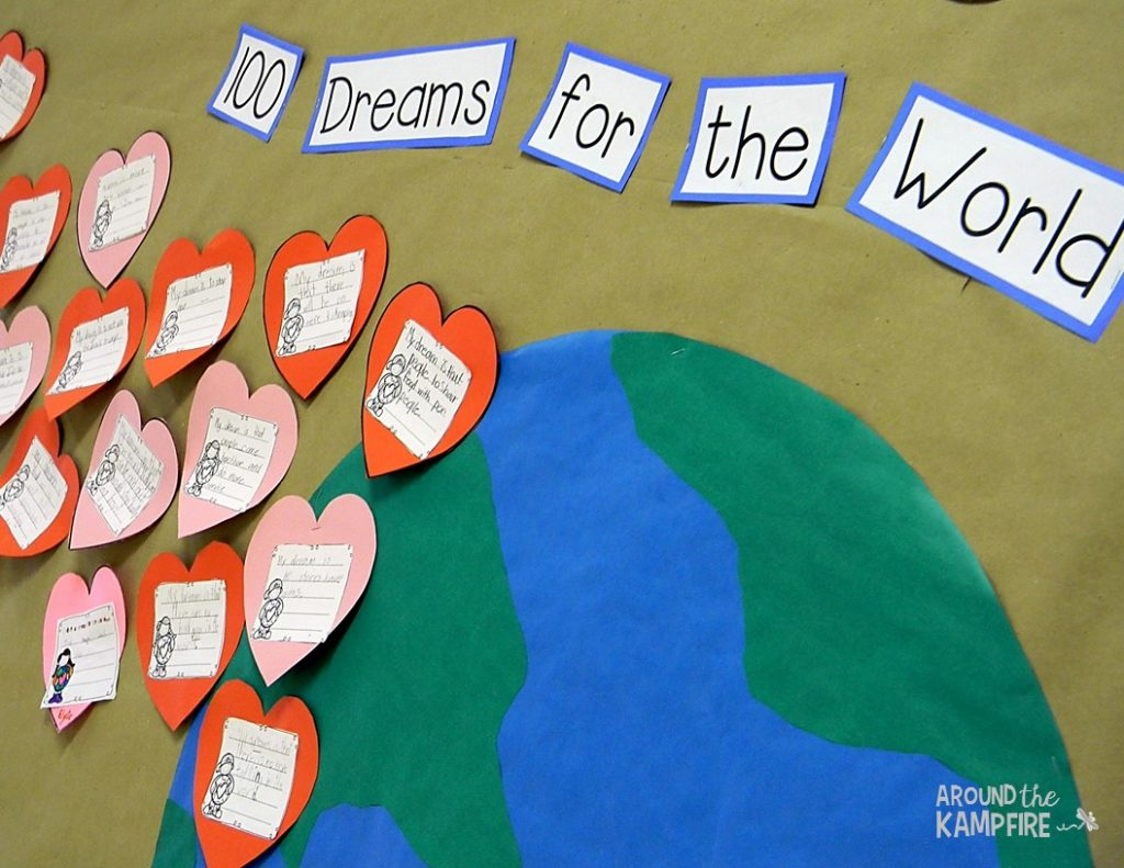 Free MLK, Valentine's Day & 100th Day of School bulletin board-100 Dreams for the World