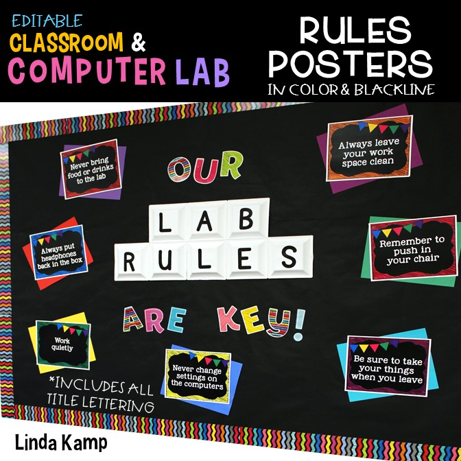 Editable Computer Lab Rules Posters- Chalkboard Decor