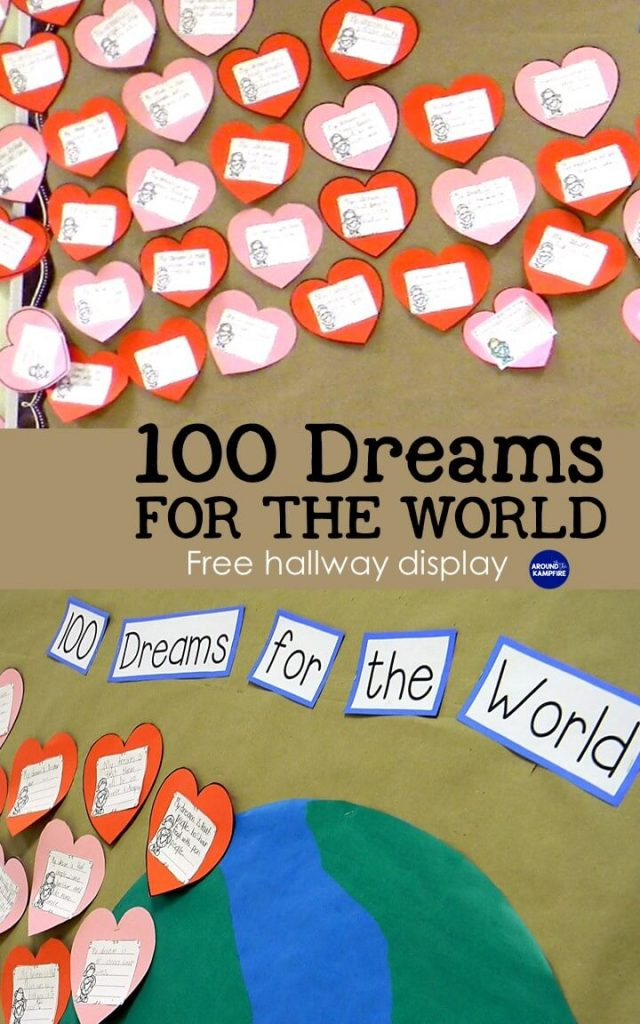 Free Bulletin board templates-All in one hallway display for MLK holiday, Valentine's Day and the 100th day of school-100 Dreams for the World