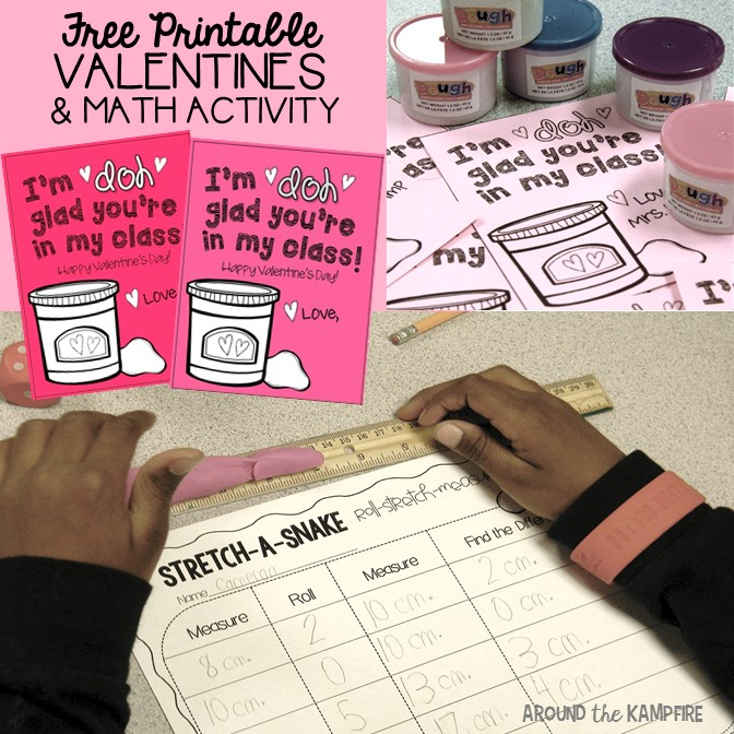 Free class valentines and matching math activity