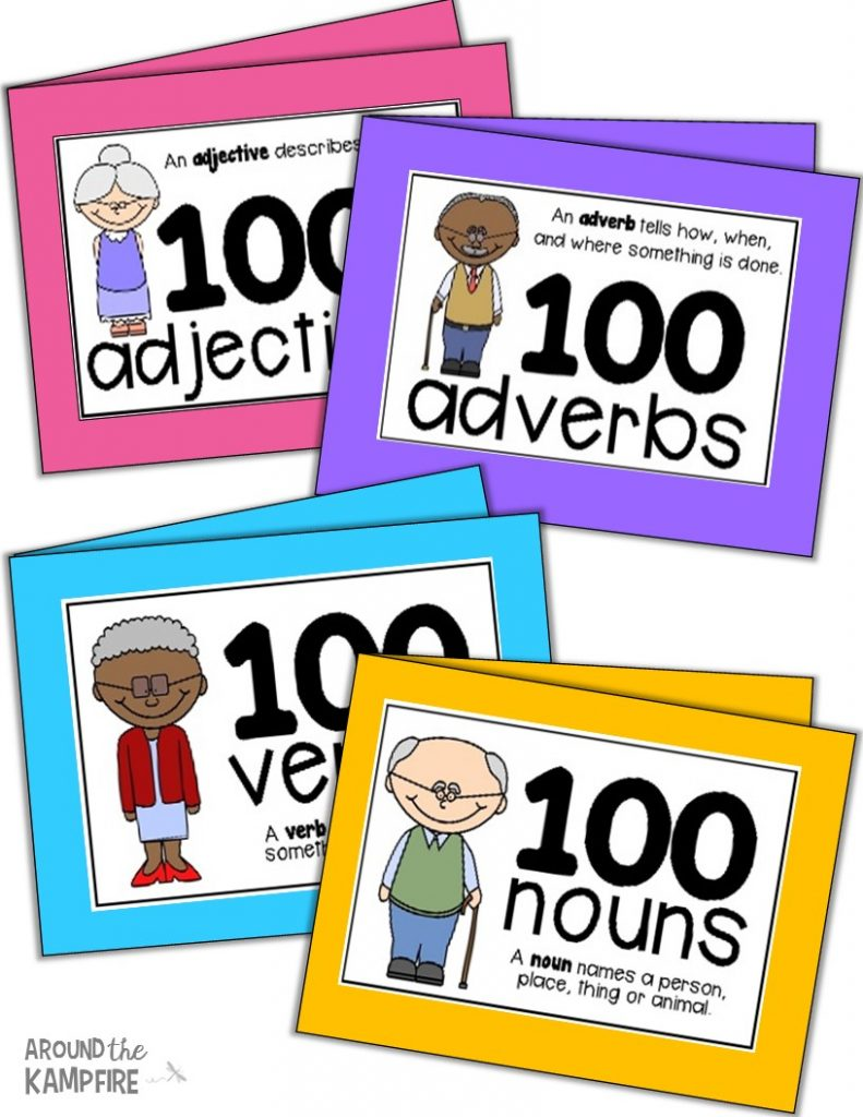 100th Day activities for 2nd-3rd grade. Parts of speech booklets.