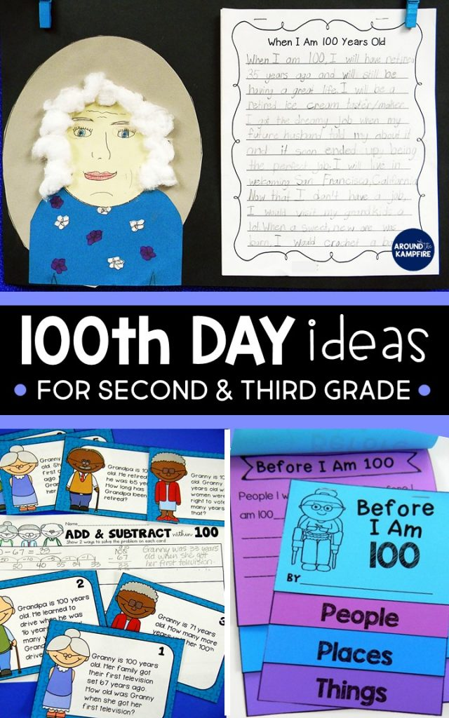 100th day activities in 2nd 3rd grade around the kampfire