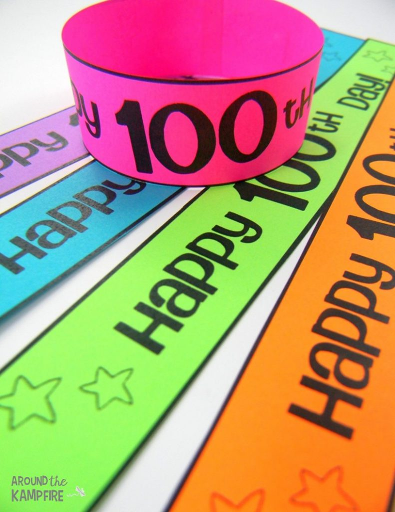 100th day bracelets-Part of a 100th day activities pack for 2nd/3rd grade!