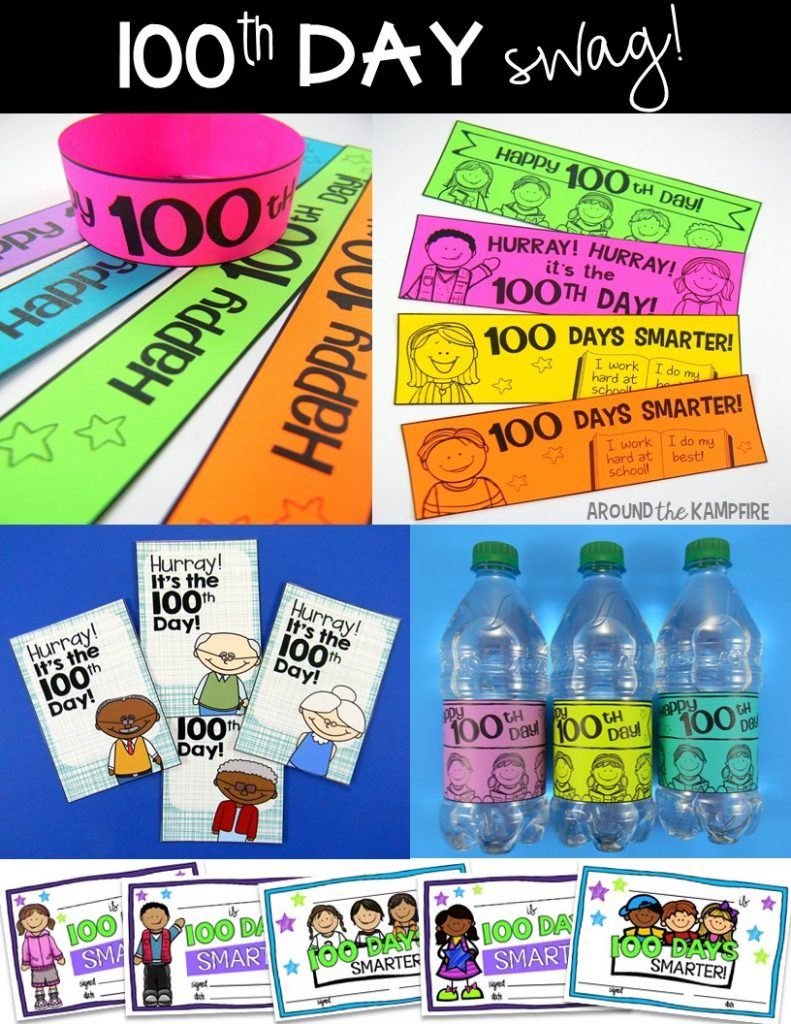 100th Day of School swag! 100th day bracelets, bottle labels, certificates, book marks and brag tags.