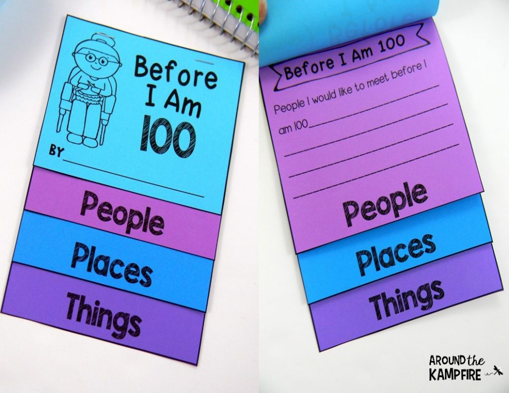 100th Day activities for 2nd-3rd grade. Before I Am 100 flip books.