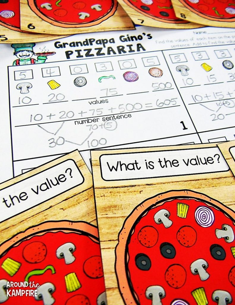 100th day math activities for 2nd-3rd grade. Students add the values of the ingredients to find the total value of the whole pizza!