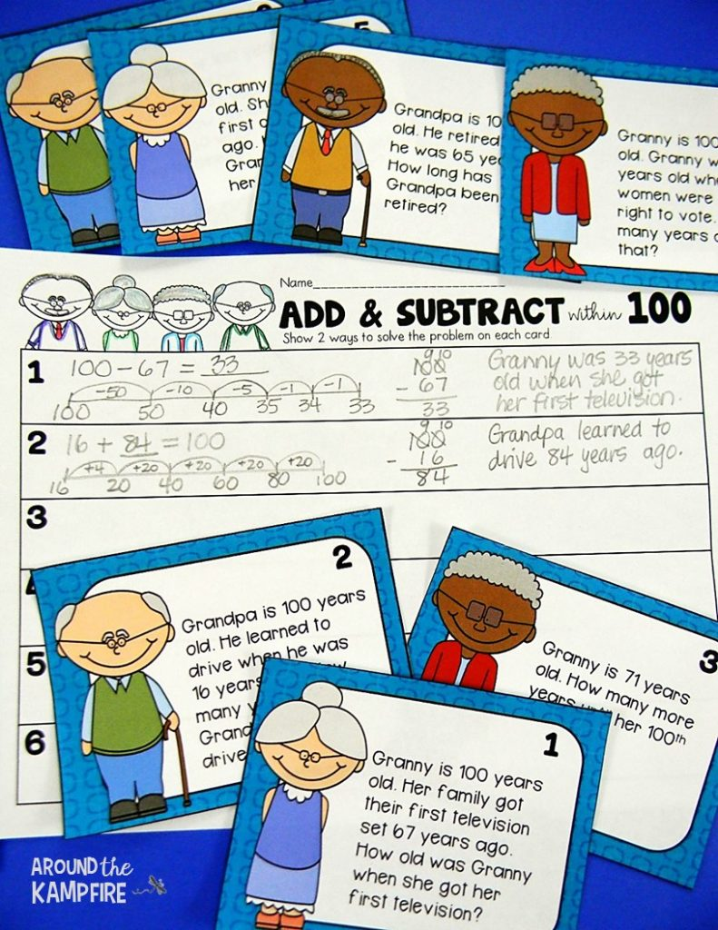 100th day math activities for 2nd-3rd grade. Students solve word problems by using known strategies to subtract from 100.