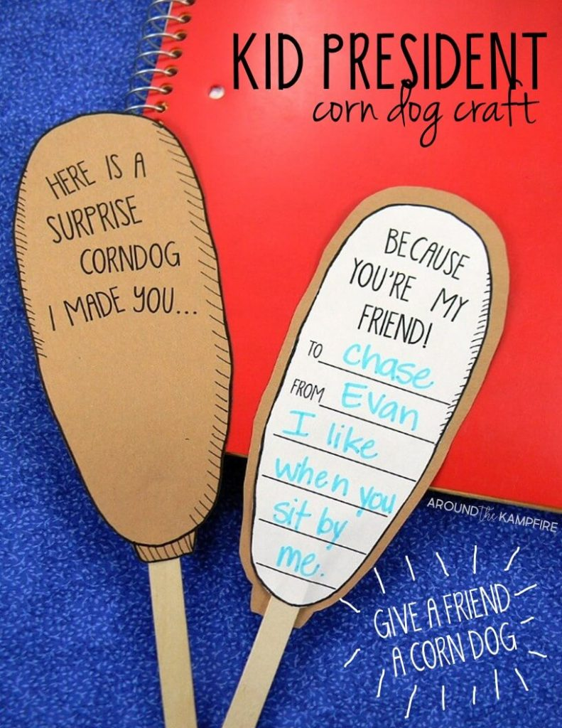 Kindness and friendship corn dog craft to use while teaching with Kid President videos. A must-read if you are not already teaching with Kid President videos in your classroom.