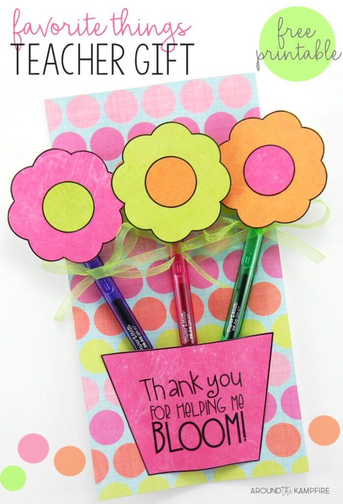 Spring teacher appreciation gift-Free printable