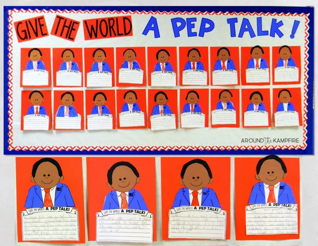 Teaching with Kid President Videos-Lesson 3- Give the World A Pep Talk. We made this Kid President writing craft to practice writing dialogue and using quotation marks correctly while giving the world a pep talk! This is a fun bulletin board idea for Presidents Day or any day!