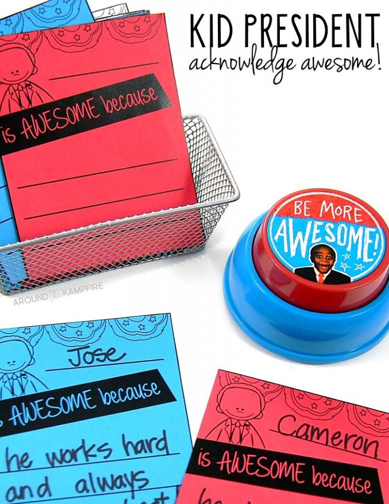 Teaching with Kid President Videos-Acknowledging awesome with these motivation notes for students and staff.