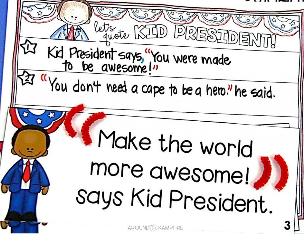 Teaching with Kid President Videos- Practicing the correct use of quotation marks with Kid President quotes in 1st and 2nd grade.