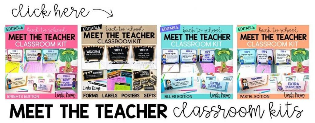 10 Tips for Managing Meet the Teacher like a pro! Editable classroom kits to help you organize, communicate, and manage meet the teacher night.
