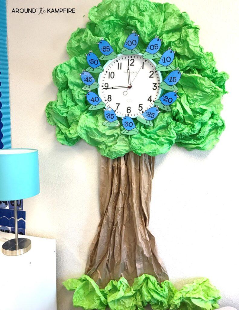 Around the Kampfire Classroom Tour- Birds in Blue classroom decor clock tree
