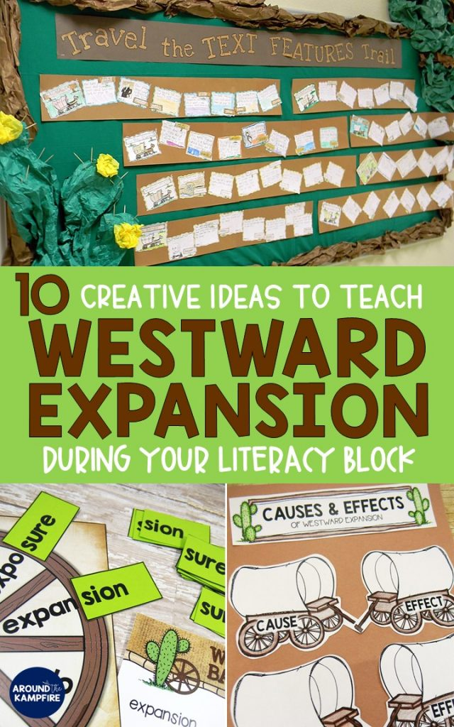 10 Ways to Teach Westward Expansion during your literacy block using social studies content to address literacy standards. 2nd, 3rd, and even 4th graders practice reading skills with westward expansion content and activities.