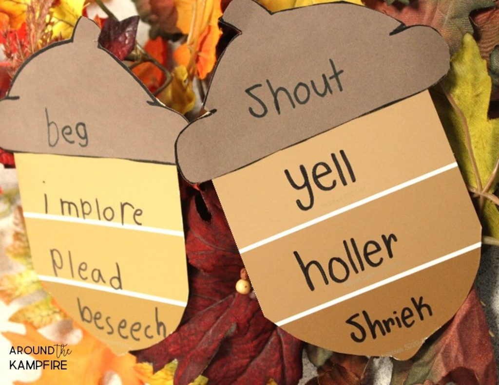 Free shades of meaning Fall vocabulary activities for working with synonyms.