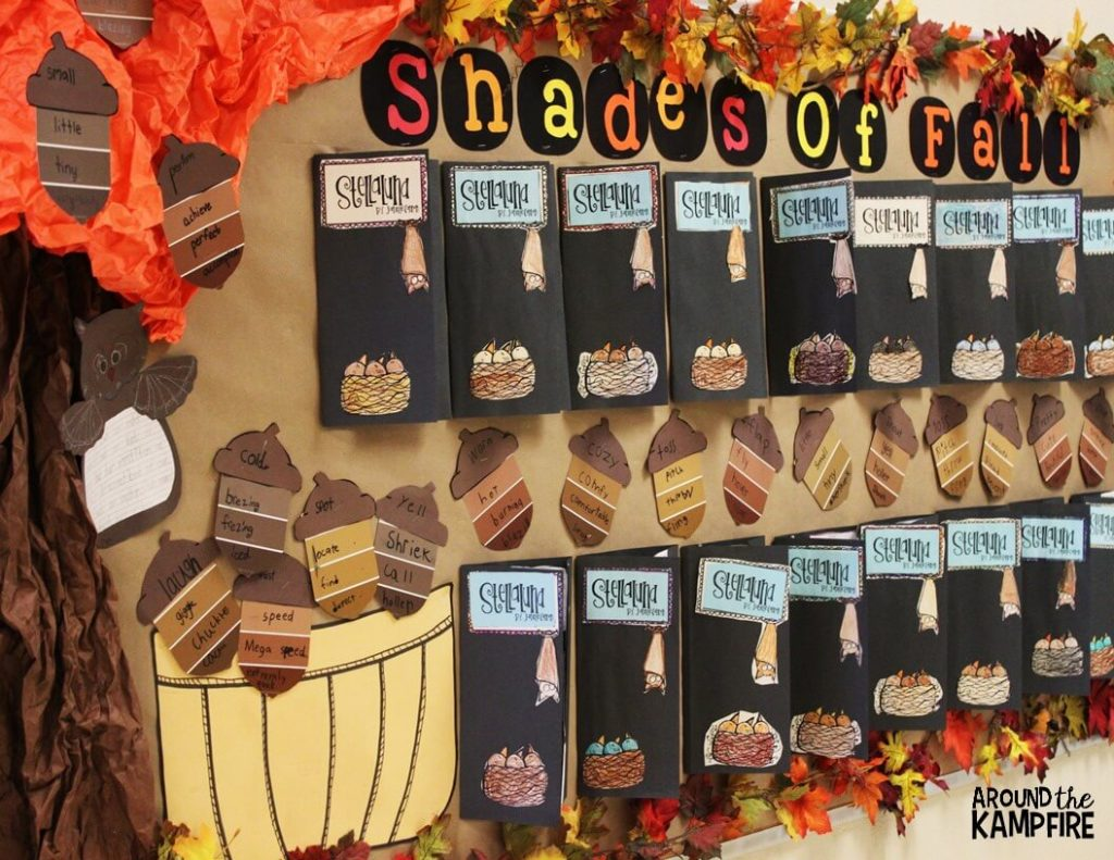 Fall bulletin board idea with Stellaluna activities and free shades of meaning vocabulary acorn craft for working with synonyms.