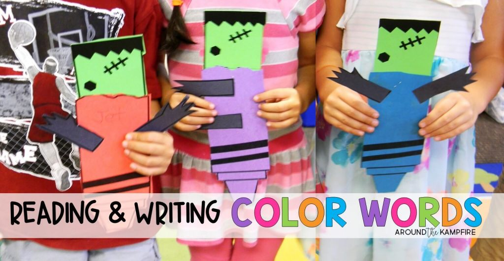 Reading and writing color words in Kindergarten and first grade. K and 1st graders will be delighted with these sight word activities and craft to use with the book Frankencrayon.