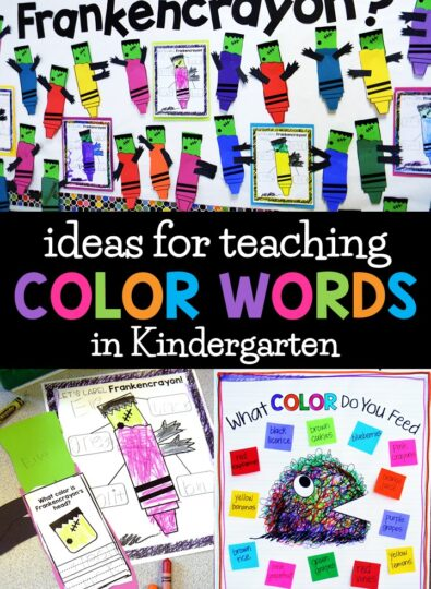 color words bulletin board, halloween craft and anchor chart