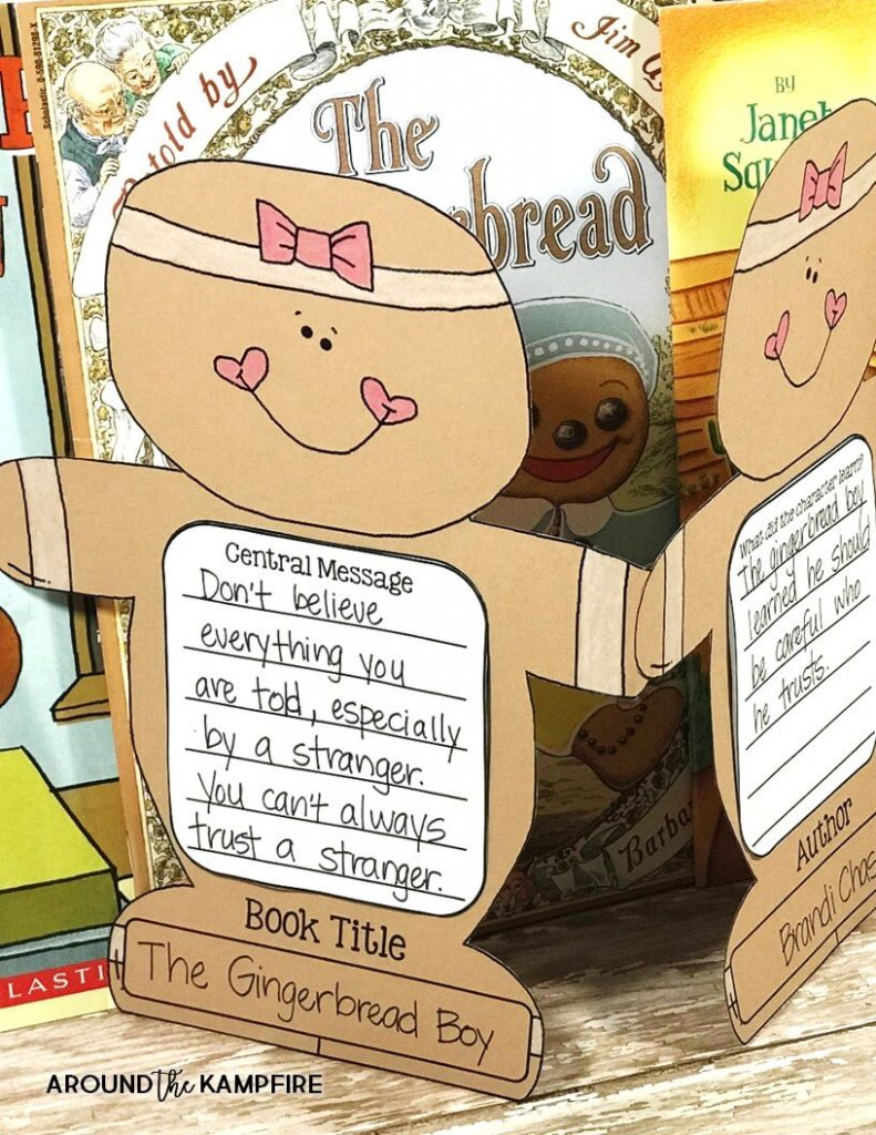 Ideas for helping kids identify the central message in versions of The Gingerbread Man. Reading ideas ideal for first and second graders while comparing versions of The Gingerbread Man. This post has free printable story elements charts ideal for 1st and 2nd grade.