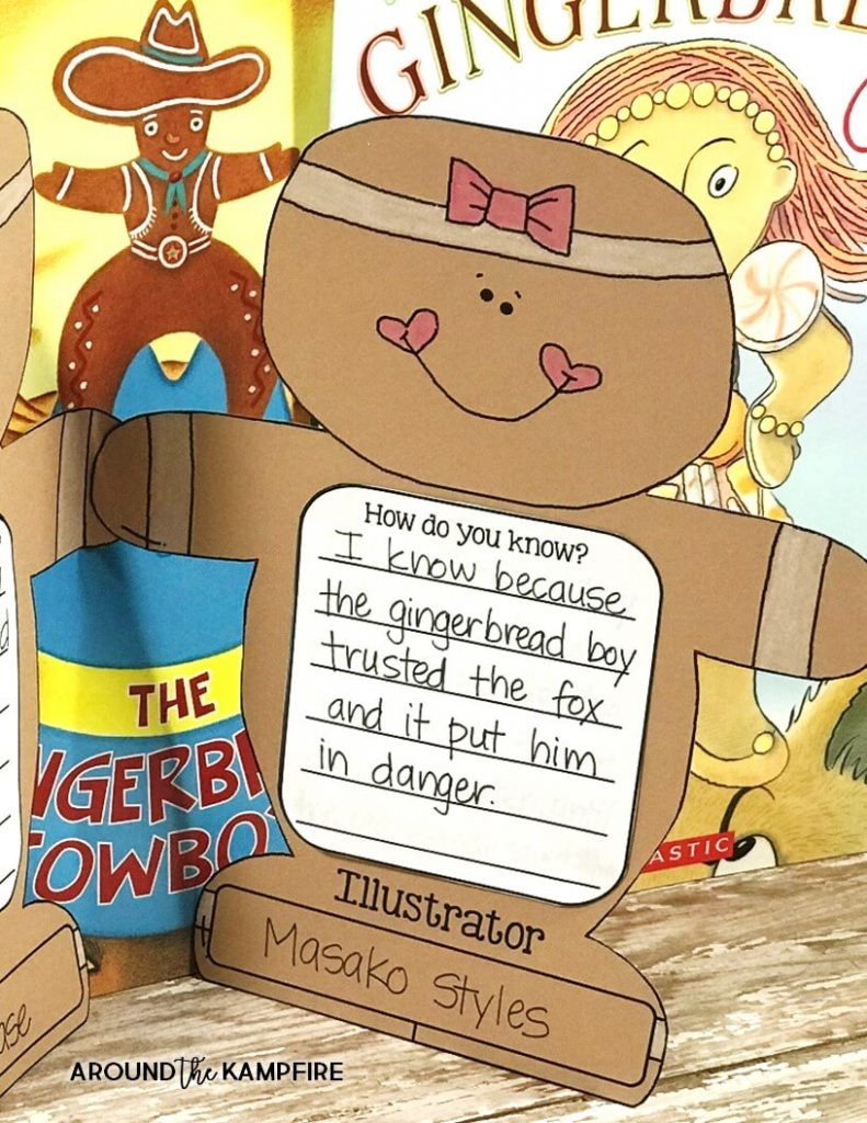Teaching the central message-Fun lesson ideas and anchor charts for first and second graders using versions of The Gingerbread Man. Close reading and comprehension activities with free printable story elements charts for 1st and 2nd grade. Gingerbread man craft