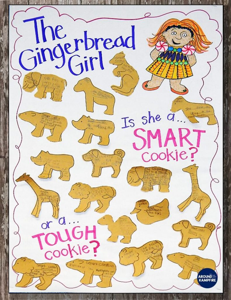 Lots of fun lesson ideas and anchor charts for first and second graders using versions of The Gingerbread Man. This post has lots of gingerbread activities for 1st and 2nd with free printable story elements charts. The Gingerbread Girl non-literal language anchor chart