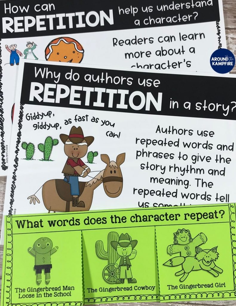 Comparing versions of The Gingerbread Man: Understanding why authors use repetition.Lots of good lesson ideas with anchor charts for getting kids to think while they read. Ideal for first and second graders while reading versions of The Gingerbread Man. This post has lots of gingerbread activities with free printable story elements charts.