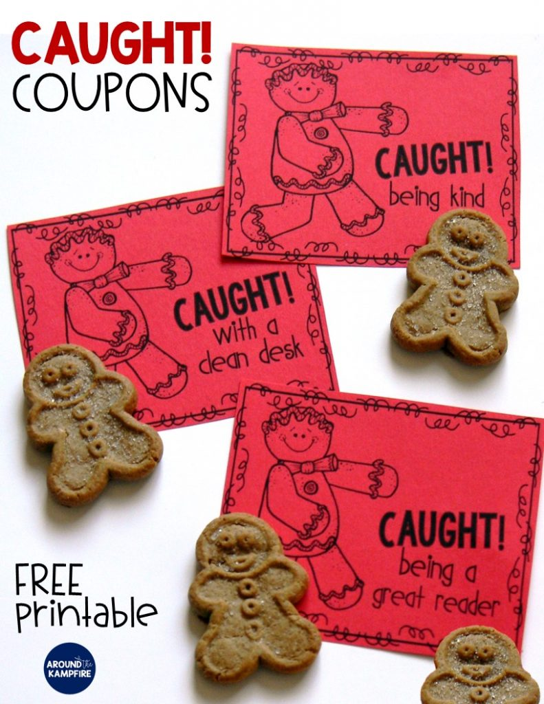 FREE Caught being kind coupons. Includes caught being a good fried, having a clean desk, and being a great reader. Perfect for the December desk fairy or random acts of kindness RAK week!