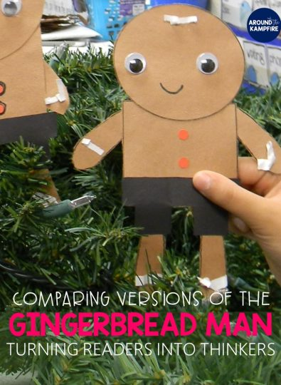 Comparing versions of The Gingerbread Man: Creative ideas and close reading lessons for first and second graders on central message, using illustrations, and analyzing characters. The post includes free story elements charts with gingerbread man reading activities ideal for 1st, 2nd, and 3rd grade.