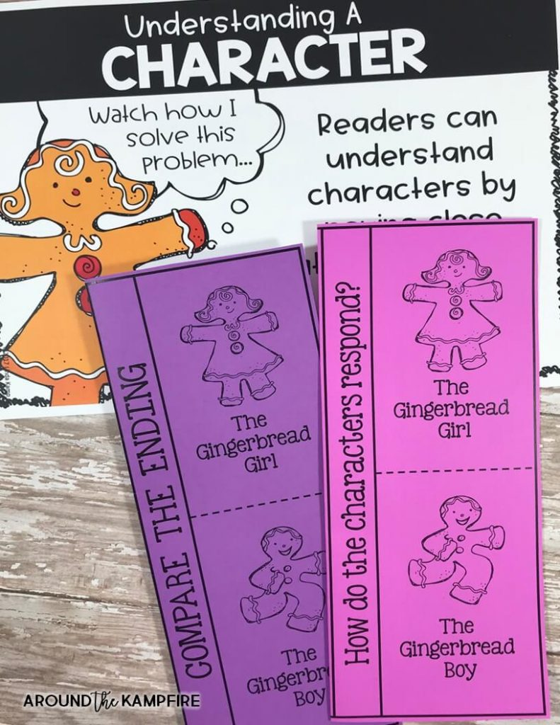 Gingerbread man reading comprehension activities with FREE printable story elements charts for 1st and 2nd grade. Ideal for RL3