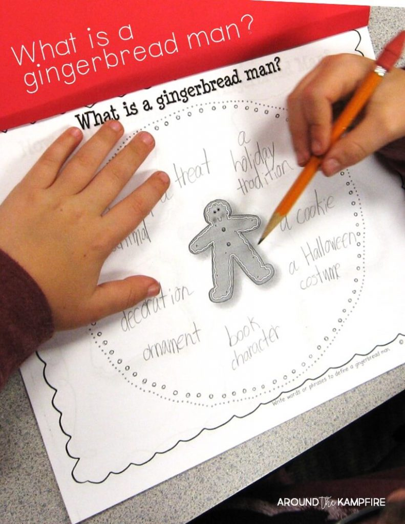 Defining a gingerbread man circle map-Lots of fun lesson ideas and anchor charts for first and second graders using versions of The Gingerbread Man. This post has gingerbread activities for 1st and 2nd grade with free printable story elements charts.