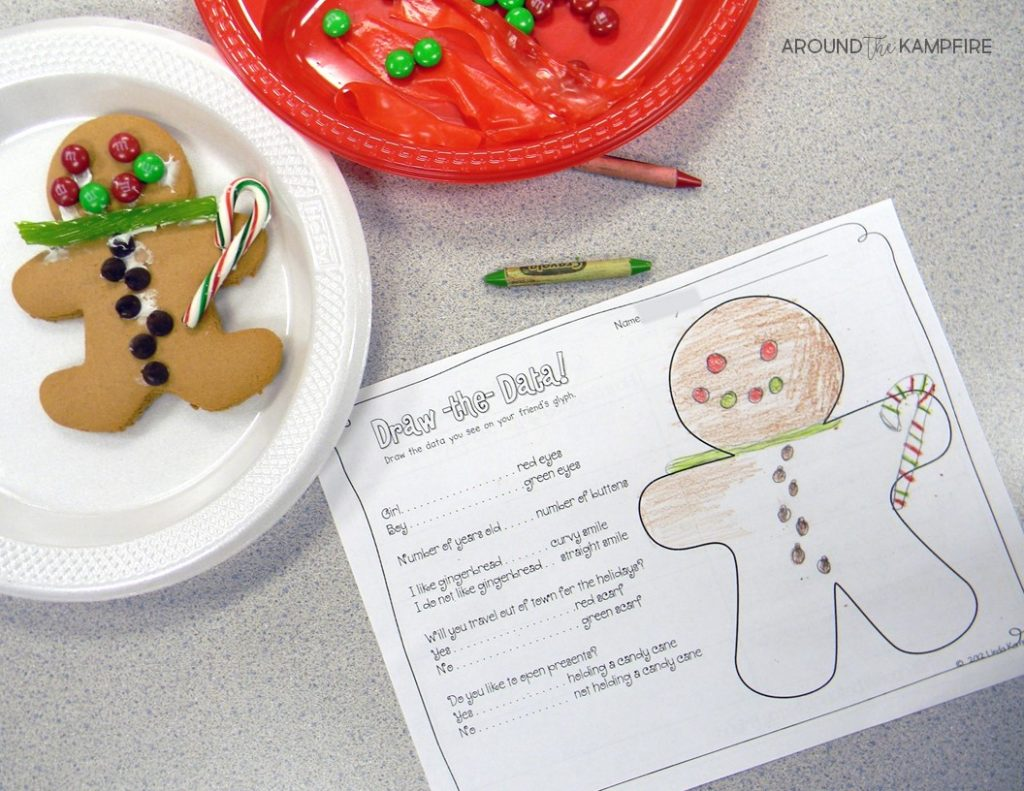 Here's a fun December math activity for data and graphing starting with a gingerbread man glyph. Use real cookies or a construction paper cut out to make the glyphs. This post has lots of graphing ideas for first and second grade teachers that make a great addition to your gingerbread man unit or Christmas activities.