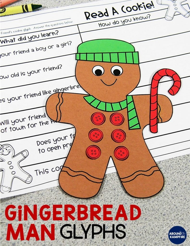 "Gingerbread man data and graphing ideas for Kindergarten, 1st and 2nd grade teachers. Making gingerbread man glyphs then taking one ""bite"" and graphing the results is such a fun and high engagement December math activity and a great addition to your Christmas activities."