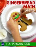 Looking for some gingerbread math ideas to add to your December math or Christmas activities? This post has ideas for 1st and 2nd grade teachers with lesson activities for data and graphing, making gingerbread man glyphs with real cookies or a paper cut-out, and a cute pop-up card craft for writing word problems. Ideal for first and second grade kids.
