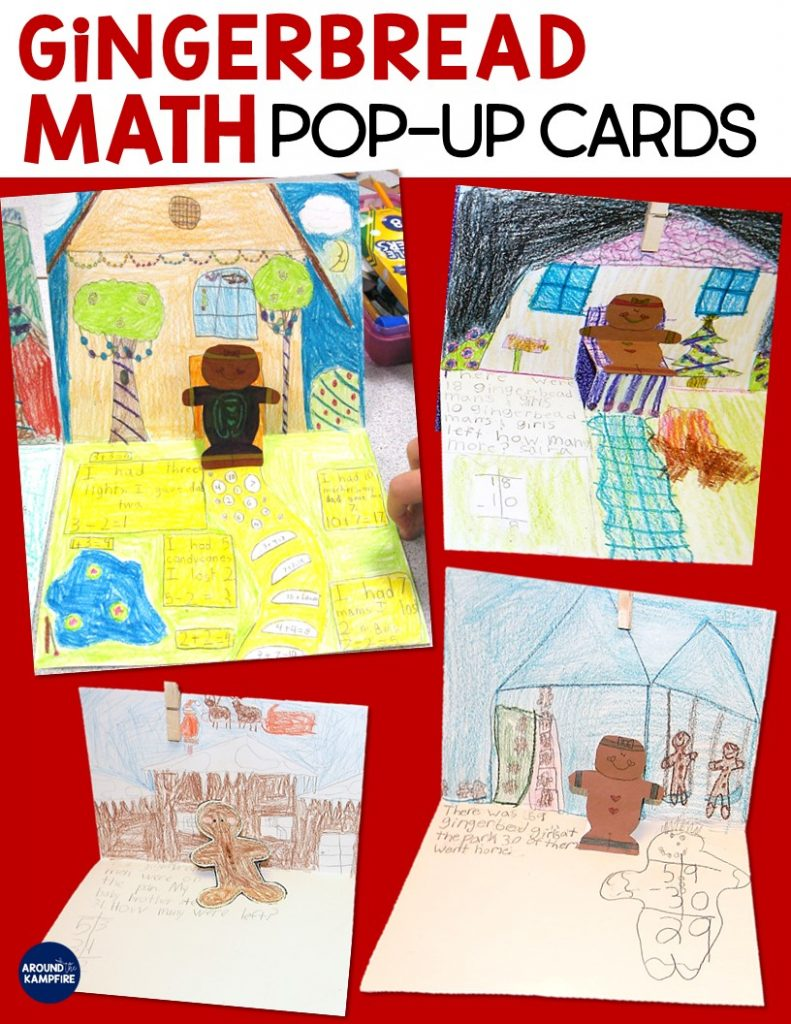 Gingerbread math activities for first and second grade. Students make pop-up cards then write, solve, and illustrate gingerbread man themed word problems. Ideal for December math lessons for 1st and 2nd graders. Directions for making a pop-up card included in the post.