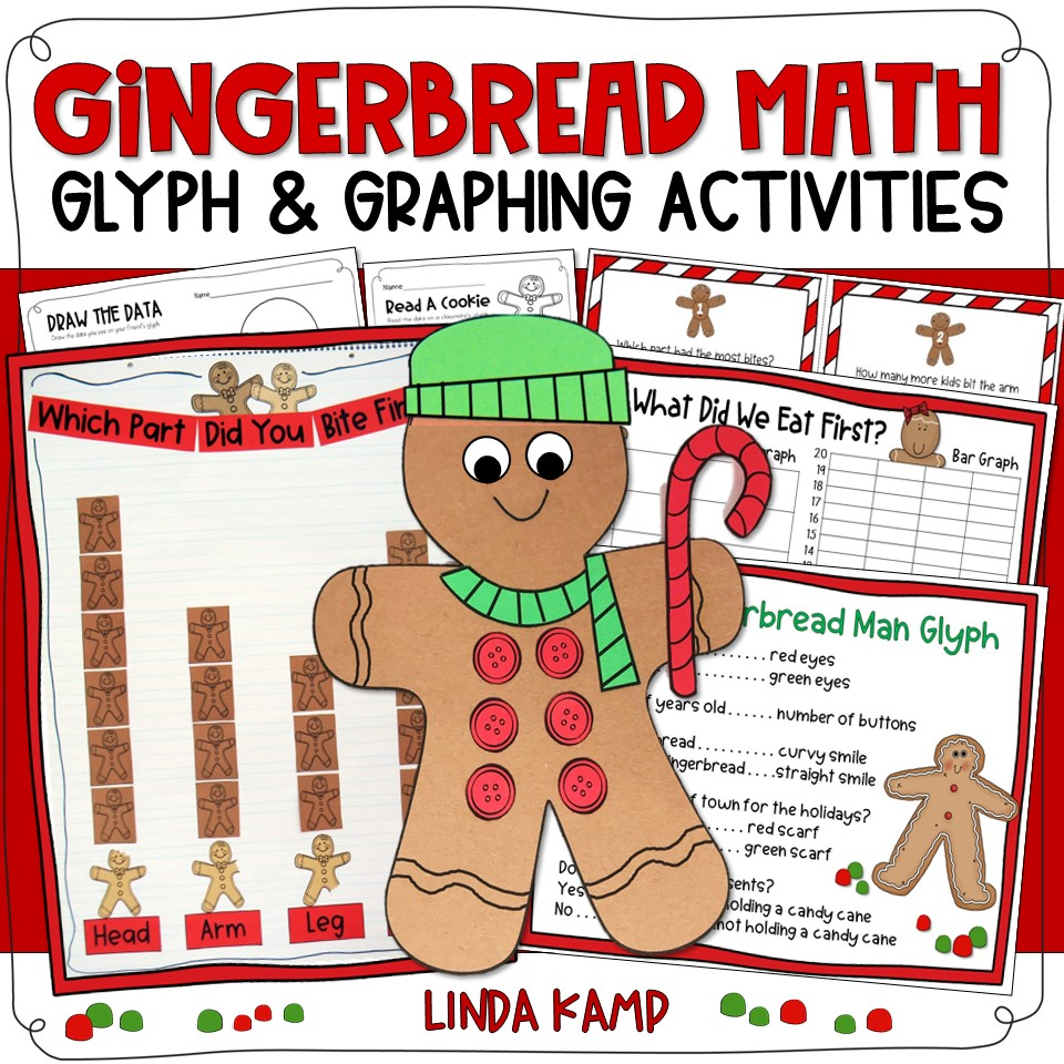 Gingerbread math glyph and graphing activities for Kindergarten, first, and second grade.