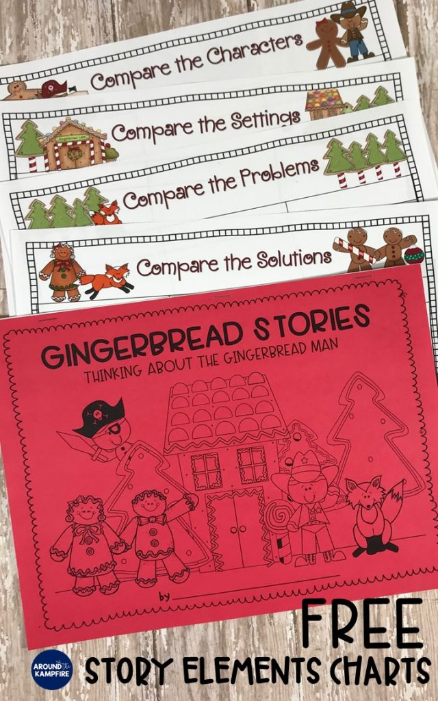 FREE story elements charts for comparing versions of The Gingerbread Man in first, second or third grade.