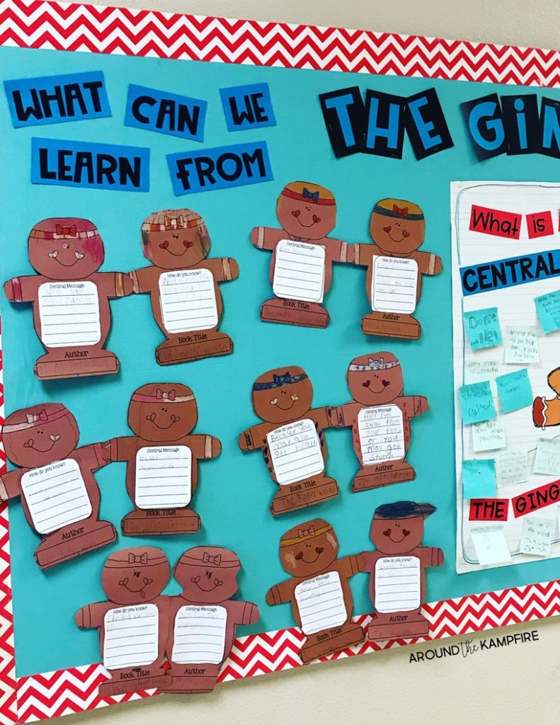 Teaching central message to 1st, 2nd, and even 3rd graders can be tricky. Using a familiar story like The Gingerbread Man along with the steps and guiding questions in this post can help students understand and determine the central message, big idea, lesson, or moral in a text. These teaching ideas and anchor chart are ideal for first, second and third grade teachers and homeschool parents. | Central message bulletin board.