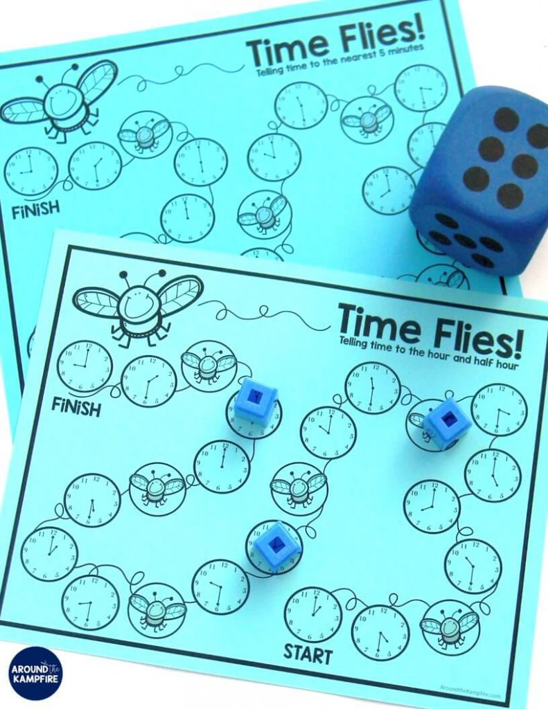 FREE telling time game for first, second, and third graders to practice time to the hour/half hour, quarter hour, and the nearest 5 minutes. In this post, see lots of fun, hands-on ideas and telling time activities for teaching 1st, 2nd, and third graders to tell time!