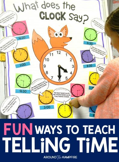 "Fun Ways to Teach Telling Time-These hands-on ideas and telling time activities for first, second, and even third graders make telling time fun! Students play a variation on ""I Have, Who Has?"" centered around a popular song and telling time anchor chart. Ideal for teaching 1st, 2nd, and 3rd graders to tell time to the hour/half hour, quarter hour and to the minute. This post also includes a FREE telling time game for kids!"