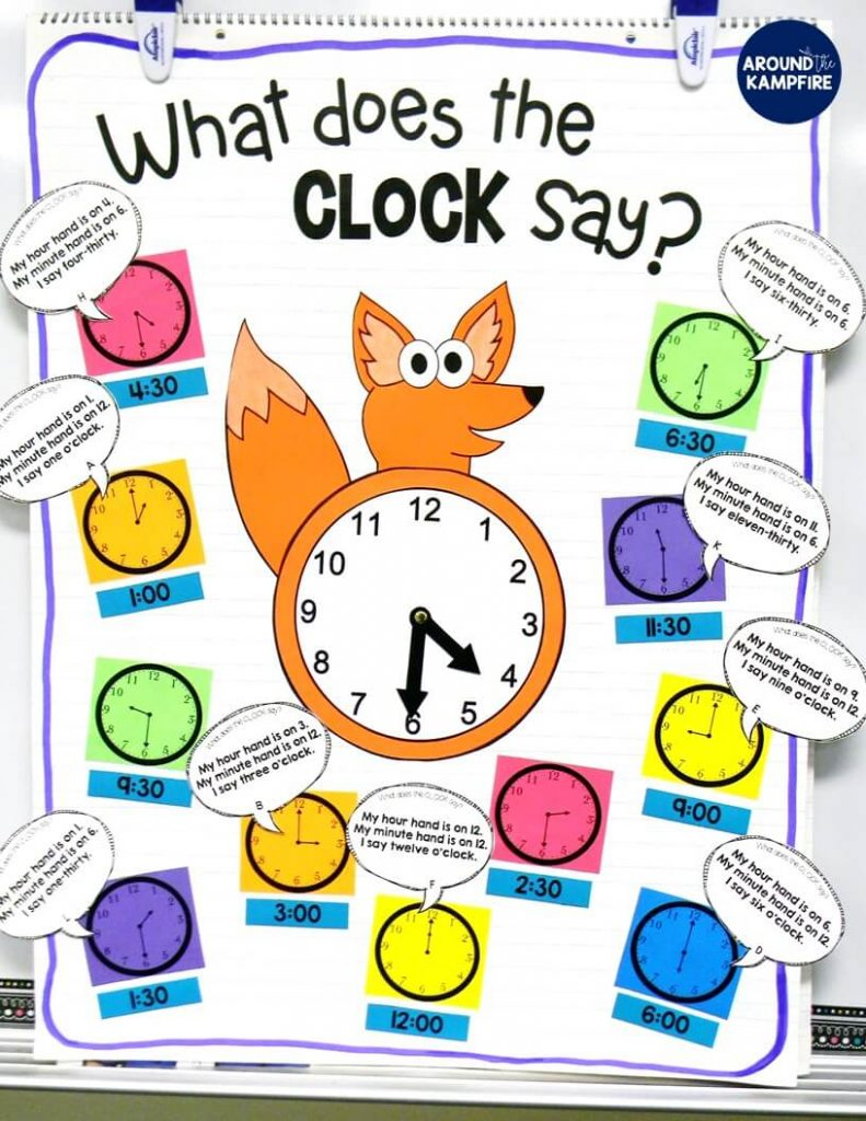 "These hands-on ideas and telling time activities for first, second, and even third graders make what can sometimes be a daunting task easy and fun! Students play a variation on ""I Have, Who Has?"" centered around a popular song and telling time anchor chart. Ideal for teaching 1st, 2nd, and 3rd graders to tell time to the hour/half hour, quarter hour and to the minute. This post also includes a FREE telling time game for kids!"