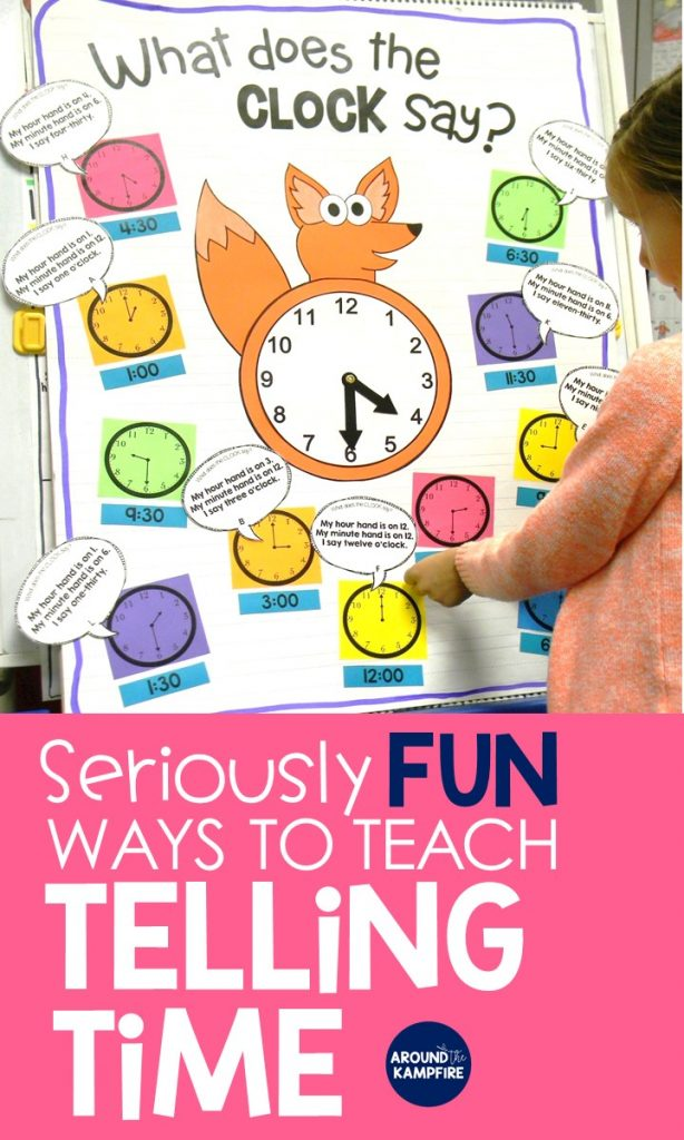 Fun Ways to Teach Telling Time-These hands-on ideas and telling time activities for first, second, and even third graders make what can be a difficult concept fun! Centered around a telling time anchor chart, these lessons and activities are ideal for teaching 1st, 2nd, and 3rd graders to tell time to the hour/half hour, quarter hour and to the minute. This post also includes a FREE telling time game for kids!