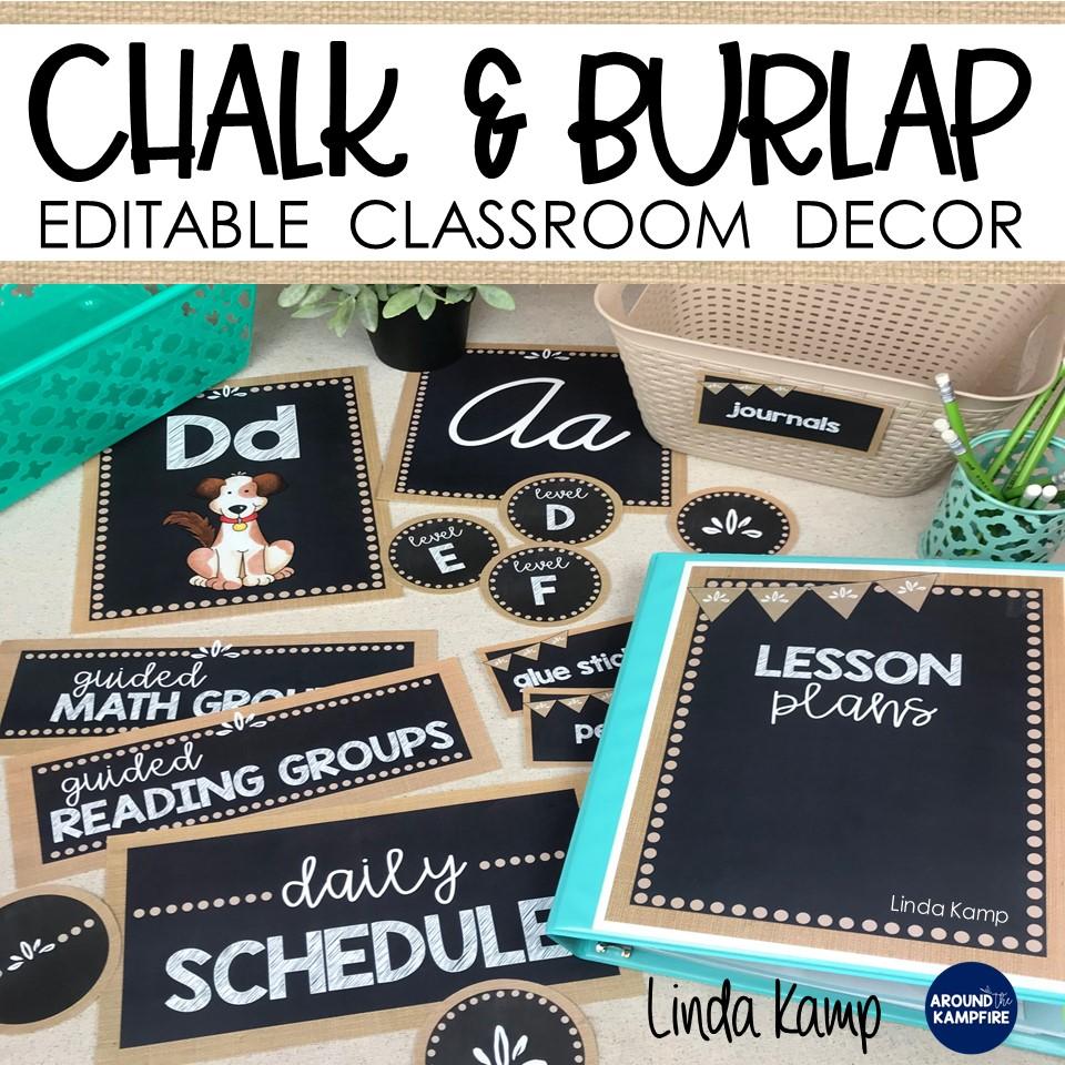 burlap and chalkboard classroom decor set ebook cover