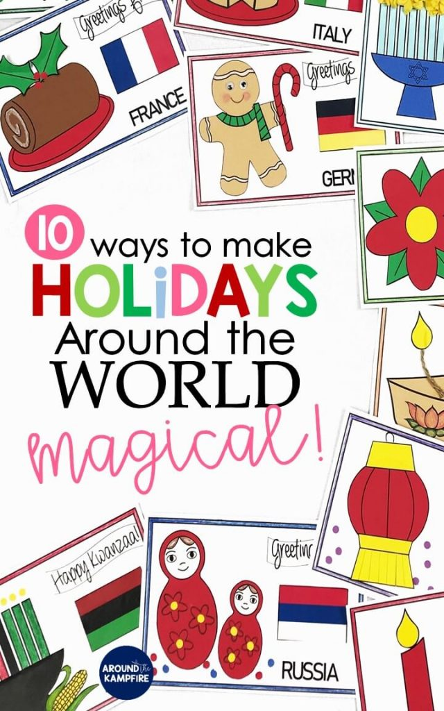Teaching ideas that make Holidays Around the World magical for your students! Teachers, this post is a must read before you make December lesson plans and Christmas activities. High engagement ideas and crafts for 2nd and 3rd grade to learn about different cultures and traditions at Christmas around the world. Download the FREE activities to add to your holidays unit while you're there!