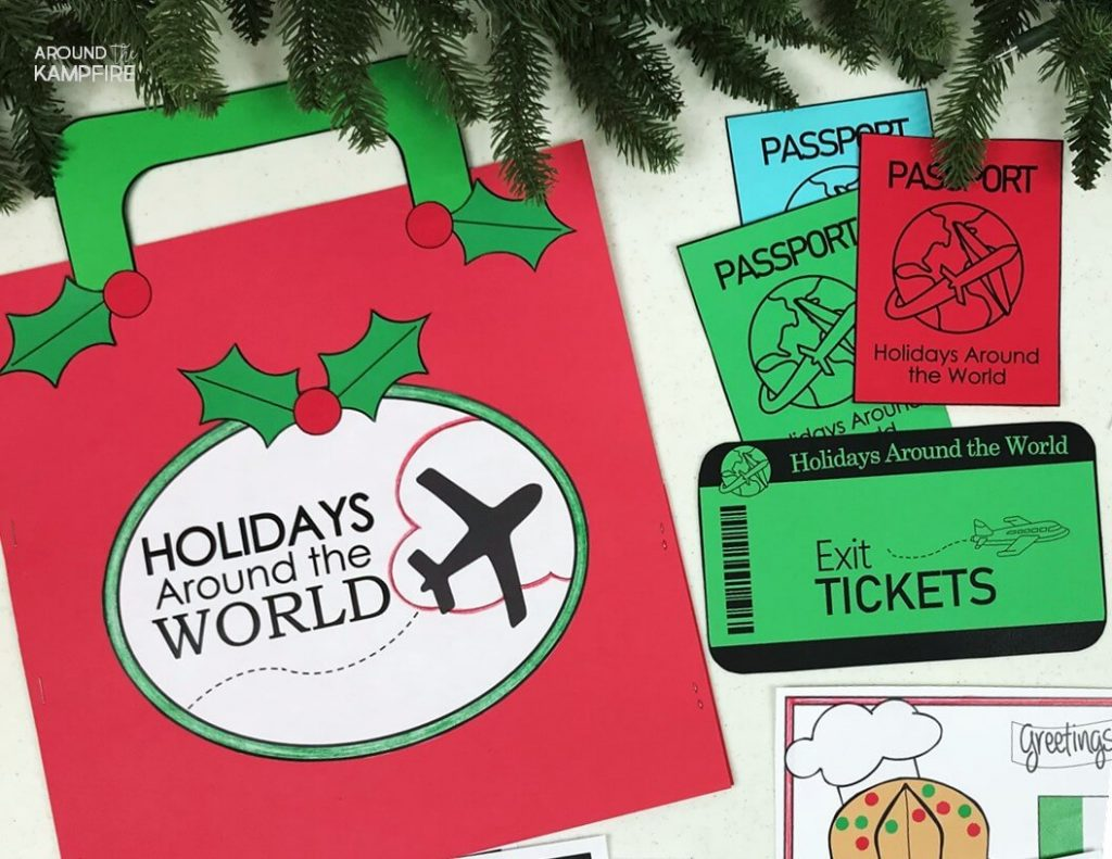 Holidays Around the World suitcase and passport- Teachers, this post is a must read before you make December lesson plans and Christmas activities. Lots of fun teaching ideas, FREEBIES and suitcase and passport ideas perfect for 2nd and 3rd graders.