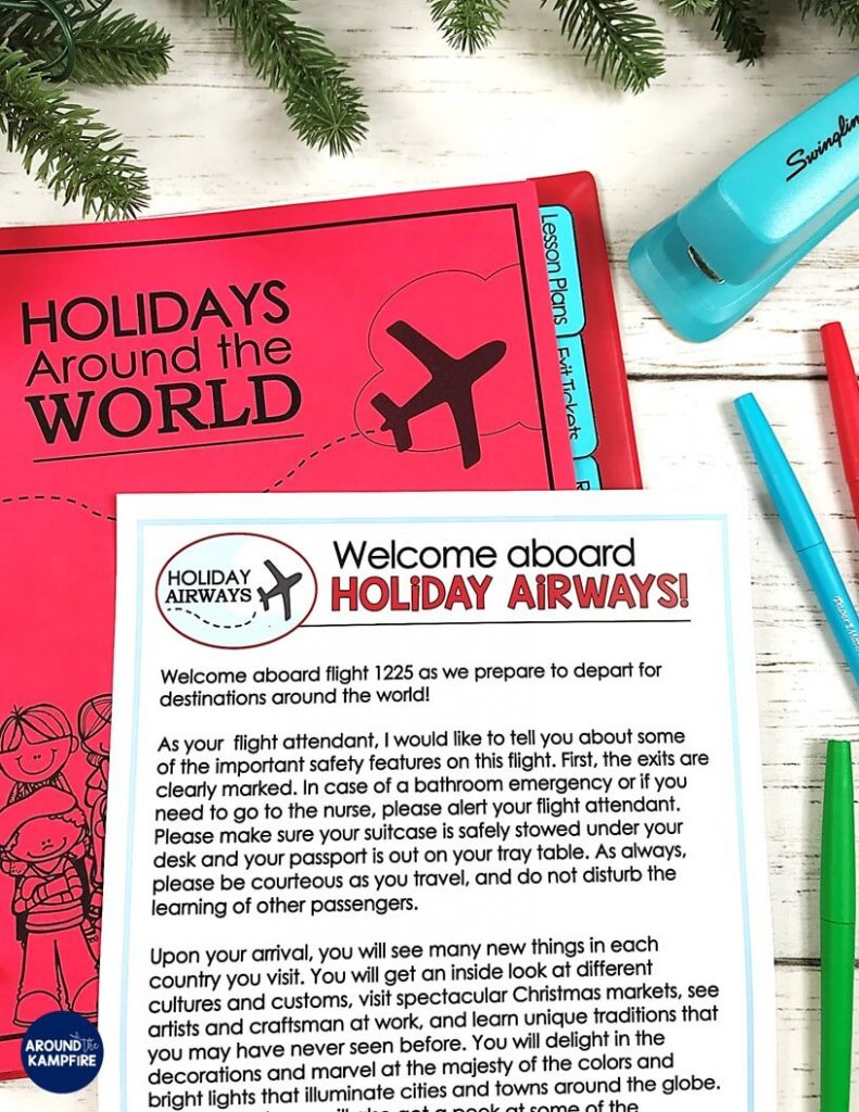 Teaching ideas that make Holidays Around the World magical for your students! Teachers, this post is a must read before you make December lesson plans and Christmas activities. Lots of fun teaching ideas, a FREE flight script and posters are included along with holiday crafts and reading and writing activities.