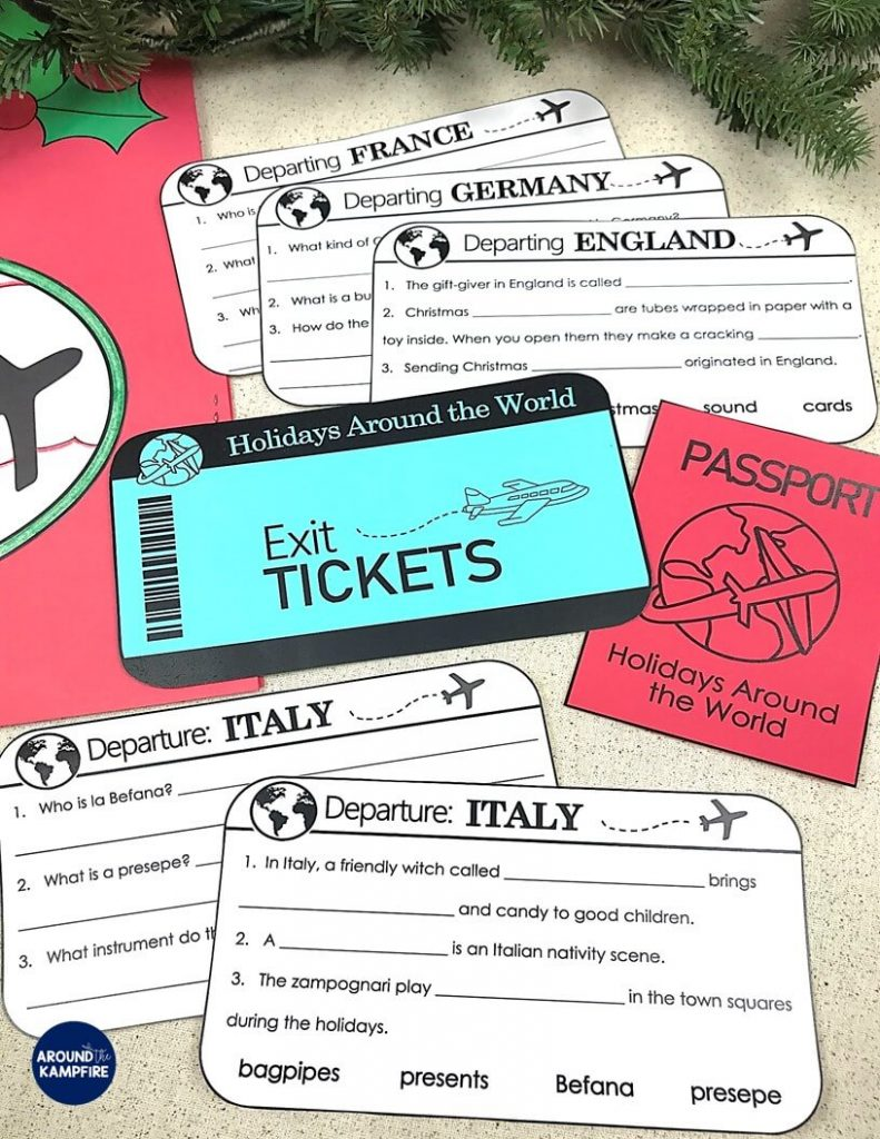 Teaching ideas that make Holidays Around the World magical for your students! Teachers, this post is a must read before you make December lesson plans and Christmas activities. Lots of fun ideas, activities and a fun way to assess your 2nd and 3rd graders with exit tickets before they depart the country. Download the FREE posters to add to your holidays unit while you're there!